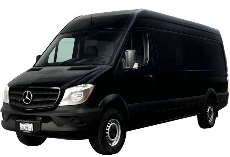 crew cargo sprinter van rental - black 5 seats